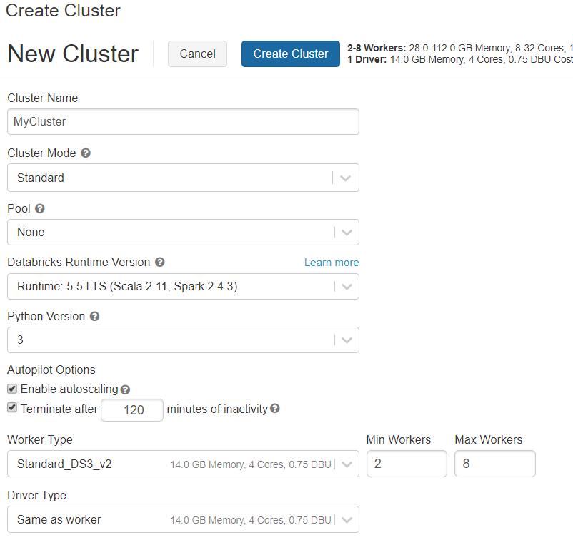create a cluster