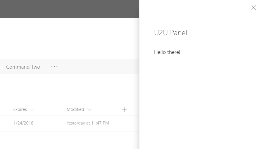 U2U Blog | Showing a panel from your CommandSet in SPFx solution
